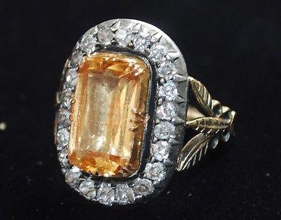 Fine-GEORGIAN-Gold-TOPAZ-Cushion-Cut-DIAMONDS-Ring