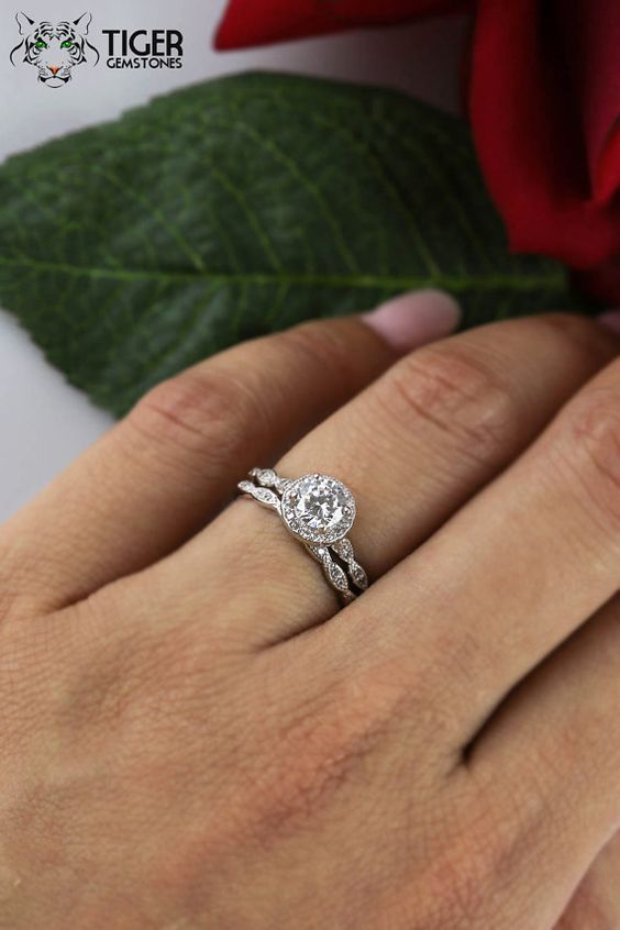3 4 Carat Wedding Set Scalloped Halo Engagement By Tigergemstones