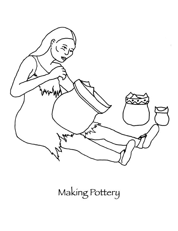 Thanksgiving Coloring pages Wampanoag woman making pottery