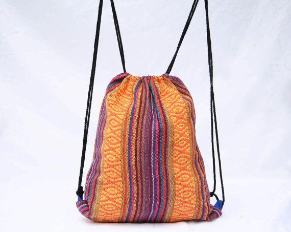Small Drawstring Bag/ Backpack/ Shoe Bag/ Ethnic by TaTonYon, $11.00