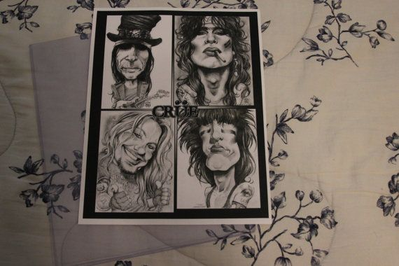 Motley Crue gourmet caricature print by by PartsUnknownPosters