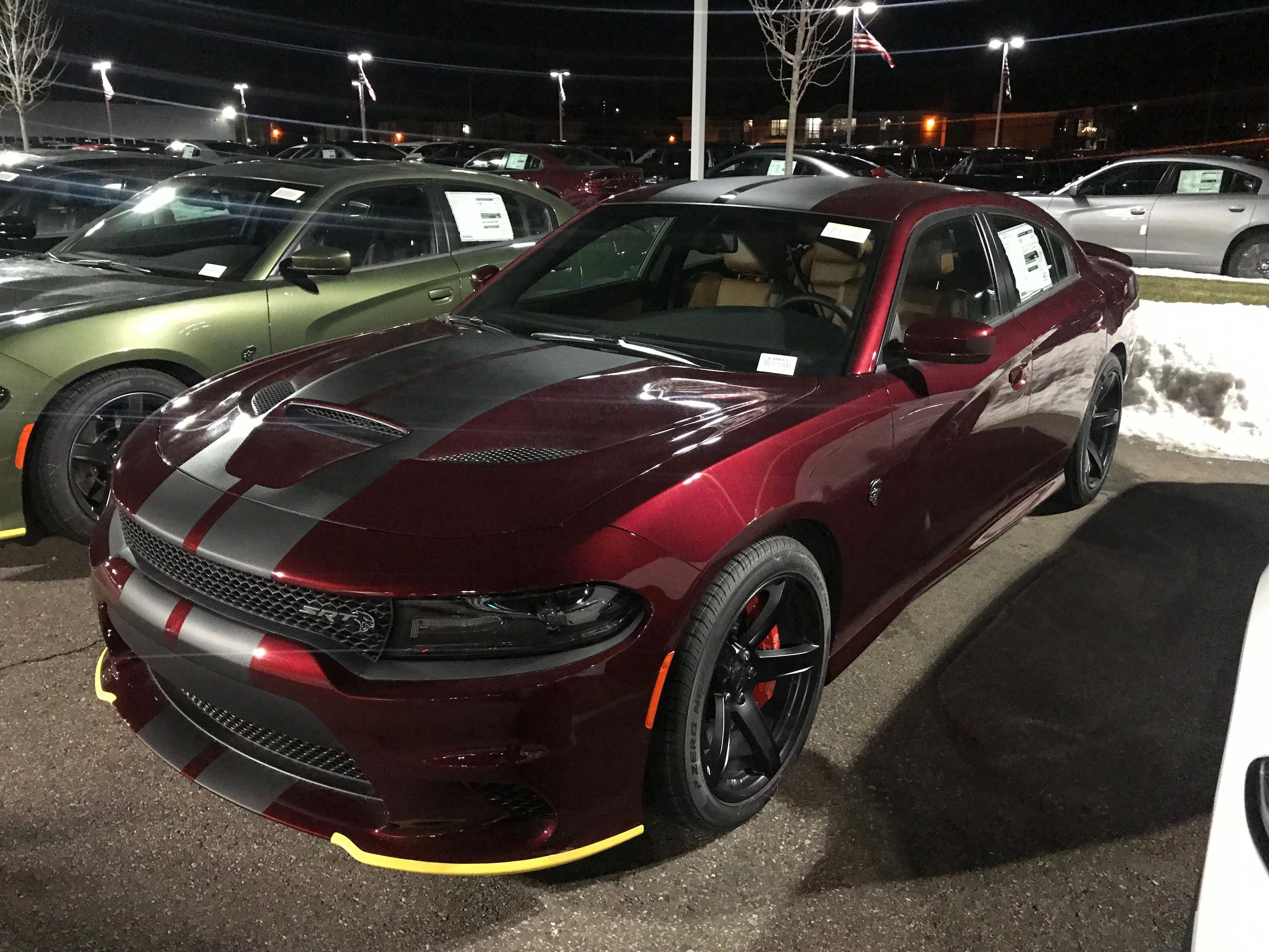 Dodge Charger Hellcat Painted In Octane Red W Carbon Central Stripes Photo Taken By Me 8interiordoors Dodge Charger Hellcat Dodge Charger Dodge Charger Srt