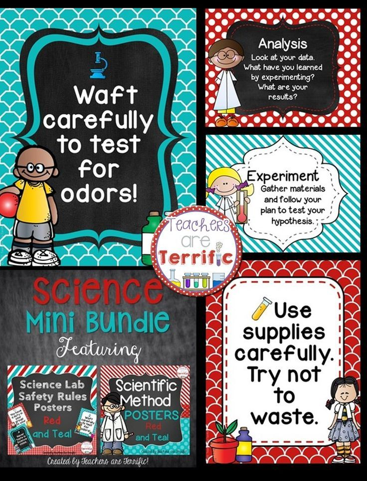 Science Poster Mini Bundle in Red and Teal Scientific