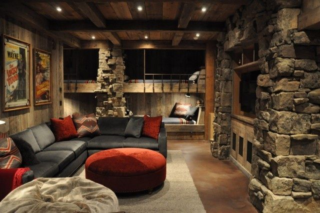 All Grown Up For The Home Rustic Basement Bunk Rooms