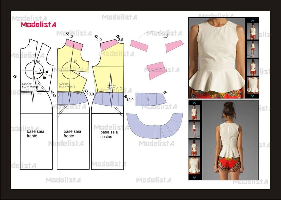 modelagem blusa com peplum. Fonte: | Ideas / diy | Pinterest