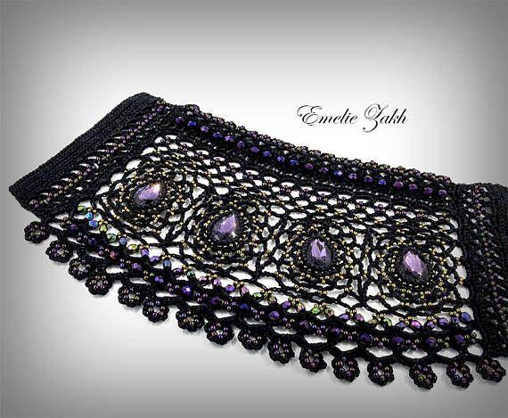 Crochet beaded cuff black lace and beads Jewelry crochet | Häkeln ...