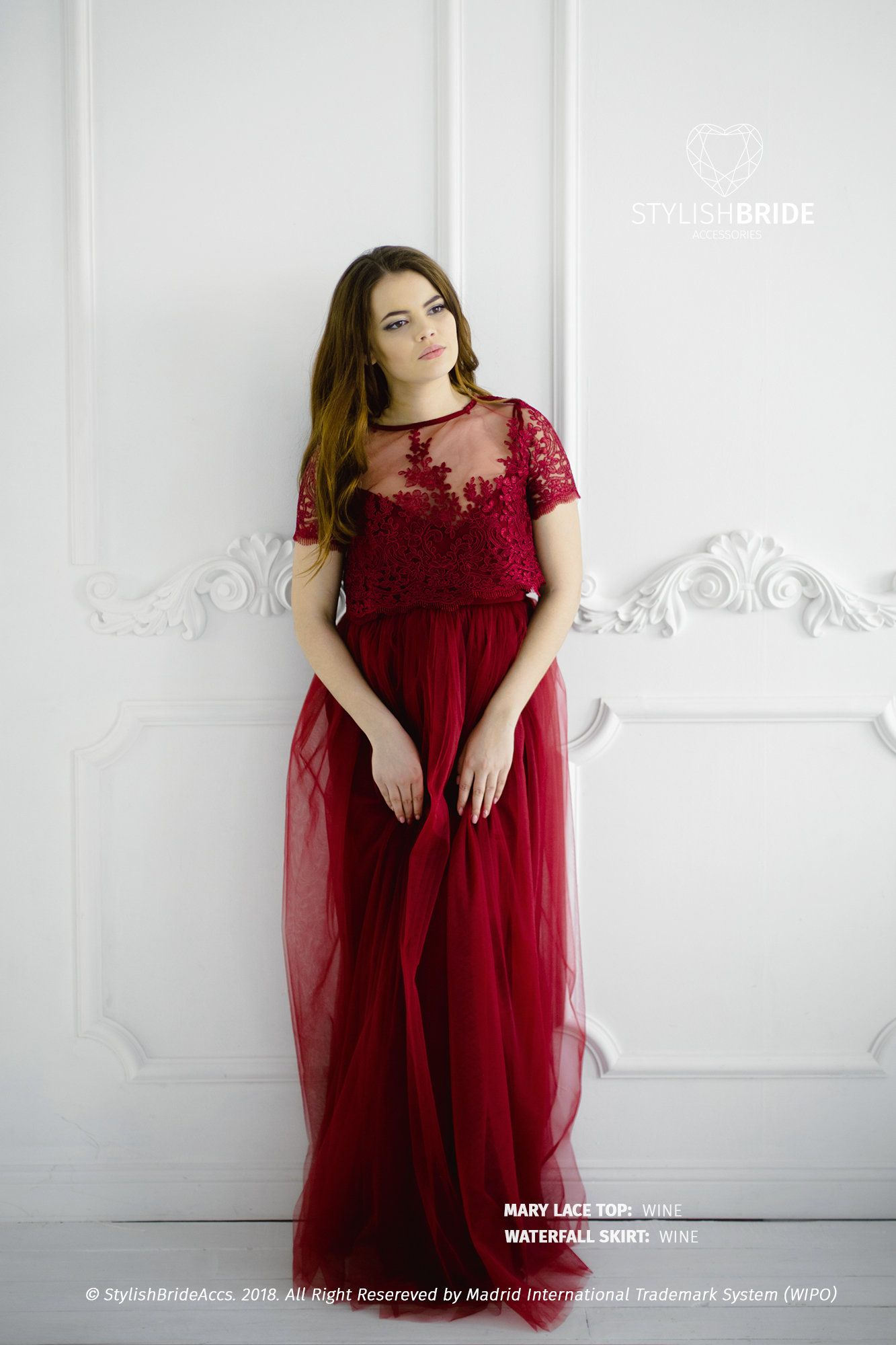 Wine lace mary dress bridesmaids long wine waterfall tulle skirt