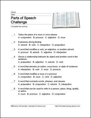 Parts of Speech Wordsearch, Crossword Puzzle, and More: Parts of Speech Challenge