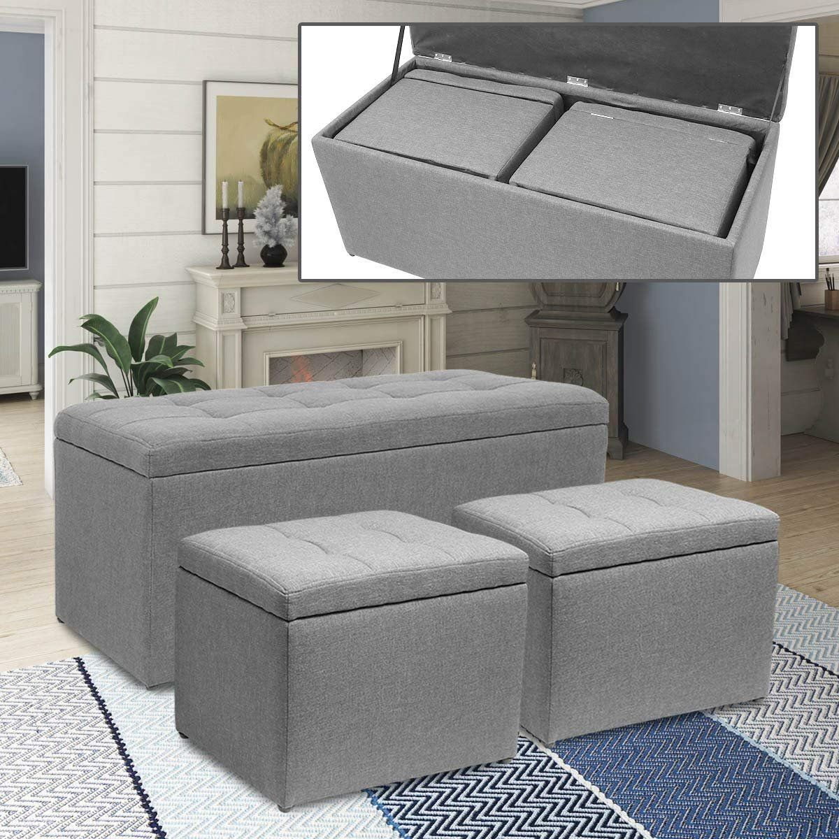 Magshion 3 Piece Linen Storage Ottoman Bench Footrest With 2 Cube