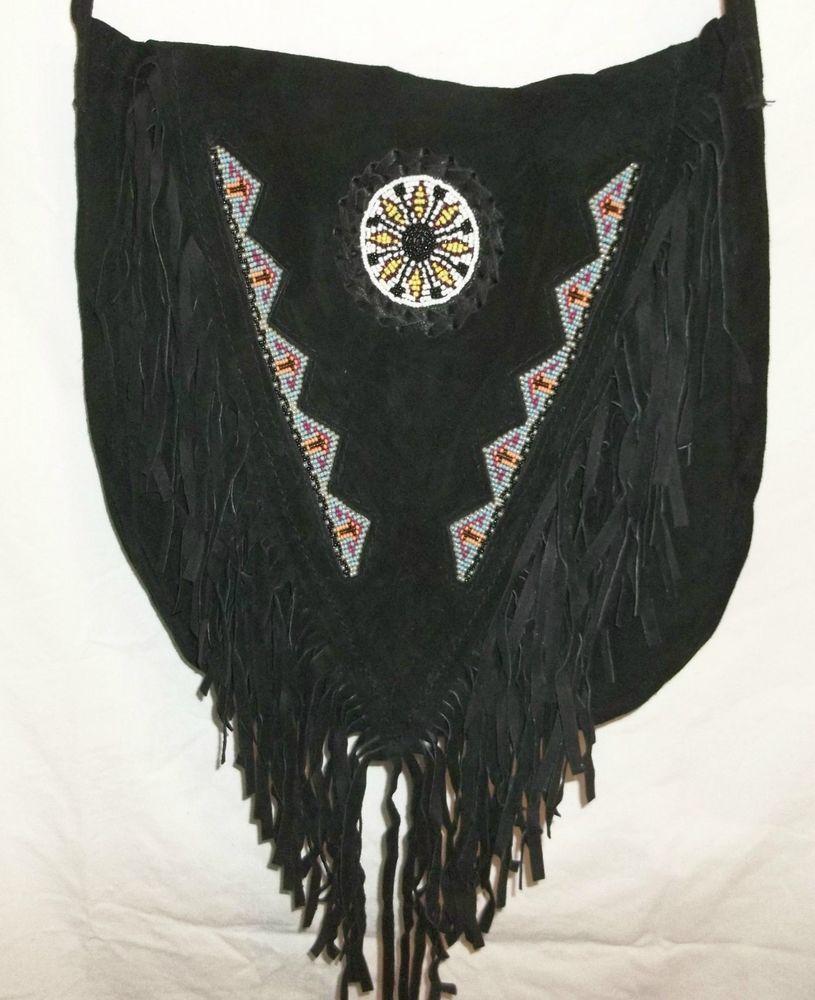 Handmade Black Leather Suede Fringe Beaded Sunflower Crossbody Bag Pocketbook #Handmade #ShoulderBag