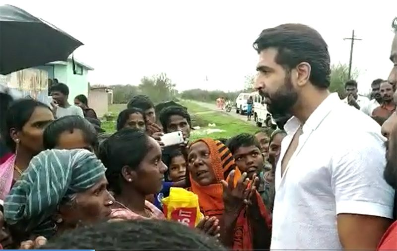 Actor Arun Vijay met people who were affected by the gaja storm