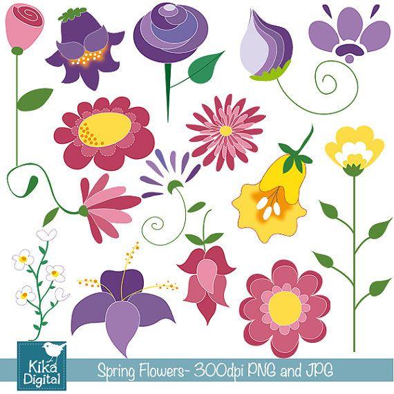 INSTANT DOWNLOAD Doodle Spring Flowers Digital Clipart / Scrapbooking - card design, invitations, paper crafts, web design
