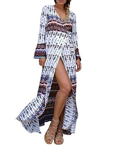 StyleDome Vestito Lungo Etnico Tribale Maniche Lunghe Sexy Casual Cotone  Elegante V Collo per Caff¨ 52c268889d9