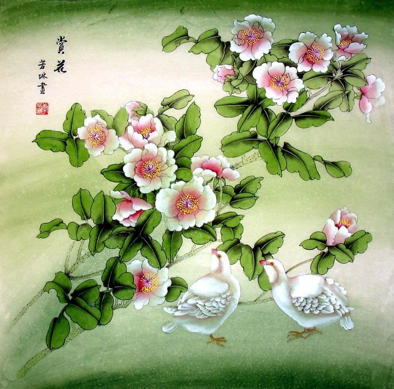 Asian floral artwork