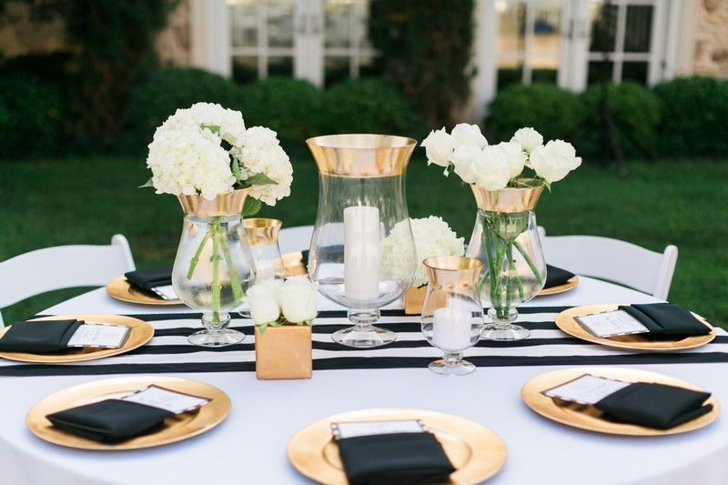 Classic Black And White Wedding Gold Reception Gold Centerpieces Black White Wedding