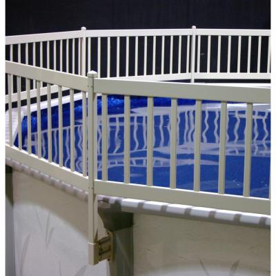 The Vinyl Works Above Ground Pool Fence Kit 8 Sections In Taupe Ne1331 The Home Depot Above Ground Pool Fence Pool Fence Above Ground Swimming Pools
