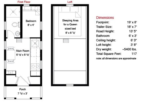Tiny houses for sale tiny house company tumbleweed tiny for Loft floor plans with dimensions