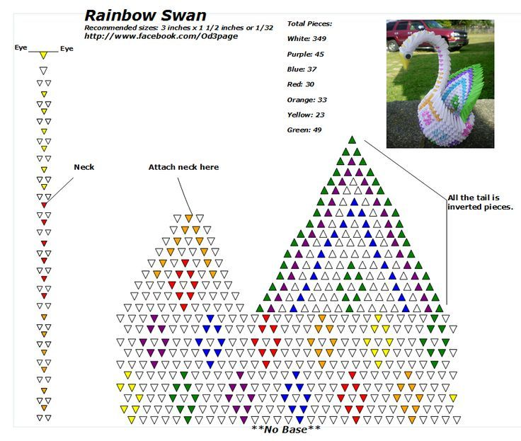 tutorial origami 3d swan