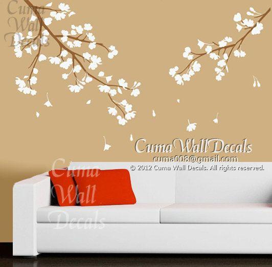 cherry blossom wall decals vinyl floral wall sticker branch nursery ...
