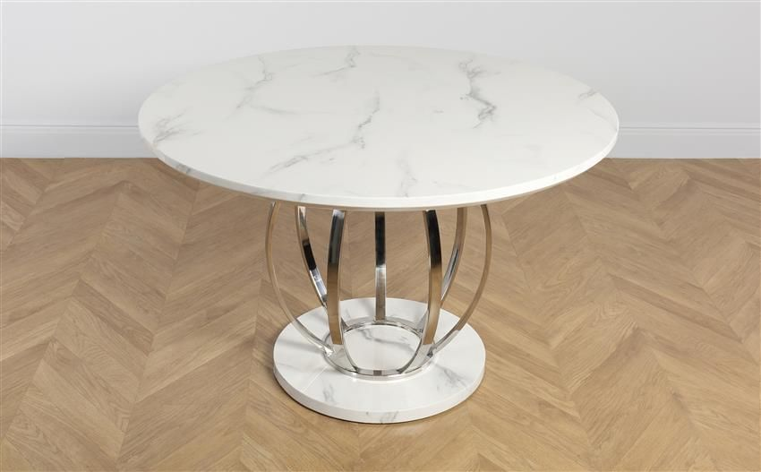 Savoy Round White Marble And Chrome 120cm Dining Table With Images Chrome Dining Table White Extending Dining Table Dining Table