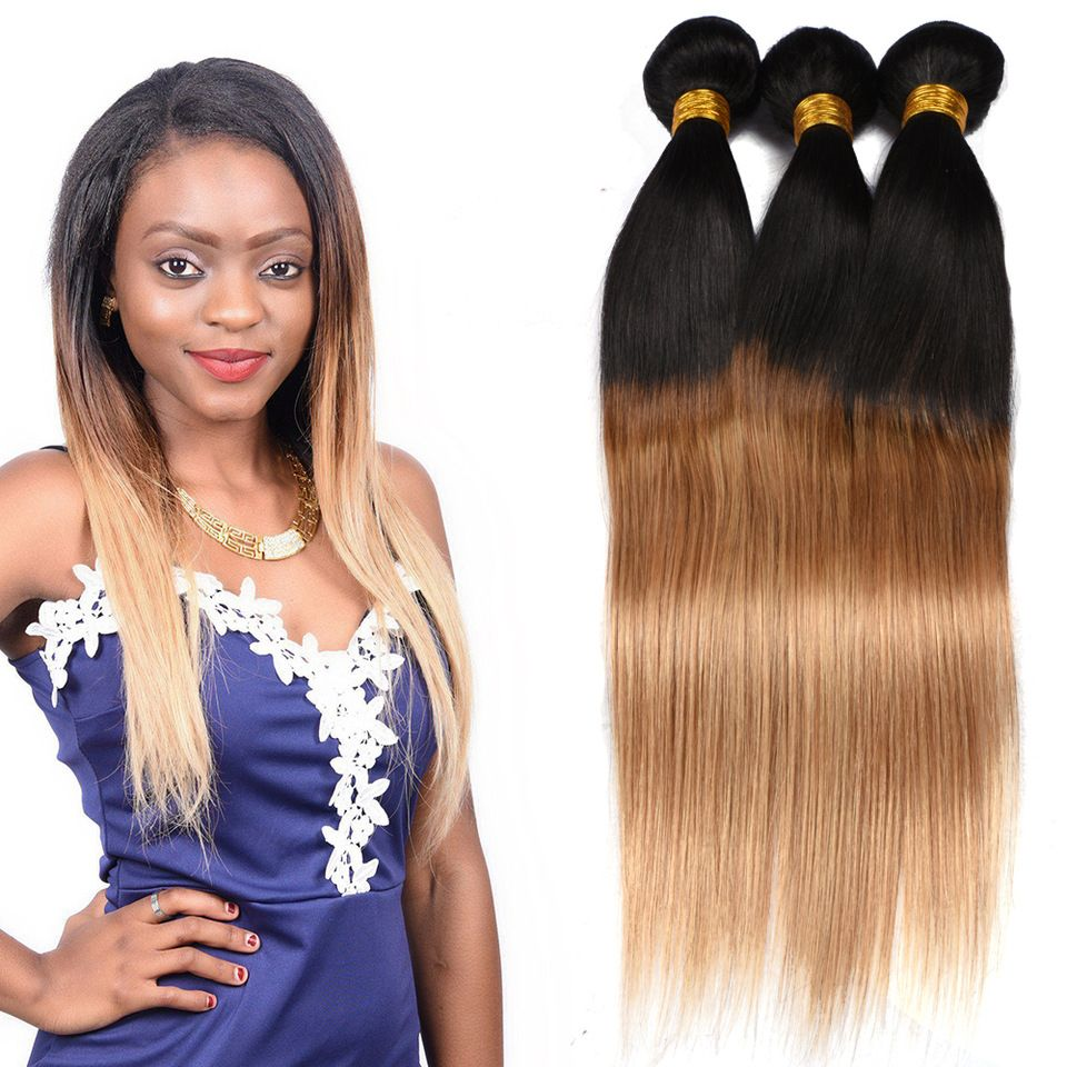Brazilian ombre color hair weave, 1b 27 hair color, remy