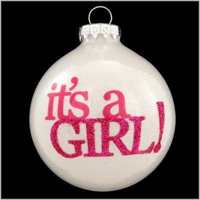 "<em>It's a Girl!</em> These three simple words on our dazzling sparkle ornament <em>speak volumes</em> to announce the new baby's arrival! Artfully crafted in Hungary exclusively for Bronner's, this special 3"" tall keepsake features an interior coating of shimmering iridescent glitter that shines through the clear glass like an infinite number of stars. We think you'll be ""tickled pink"" with this great gift perfect for the new little bundle of joy!<br>Bronner #1179737."