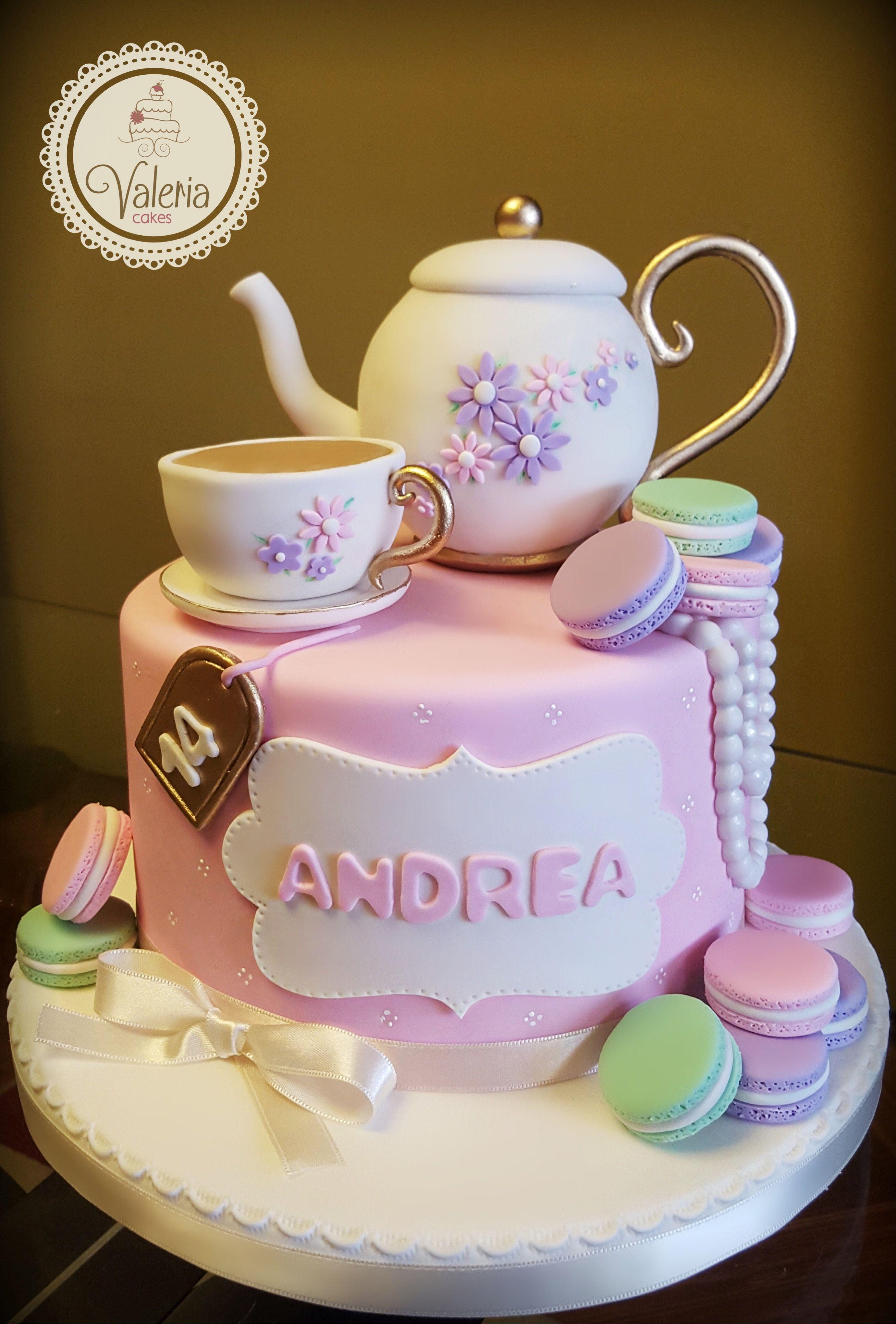 Vintage Macaron Tea Fondant Cake Torta Para Fiesta De Te