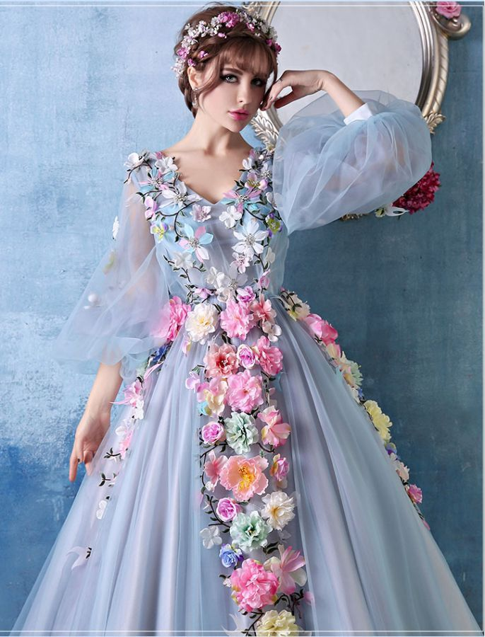 Bishop Sleeves Floral Ball Gown Gowns Chic Prom Dresses Ball Dresses