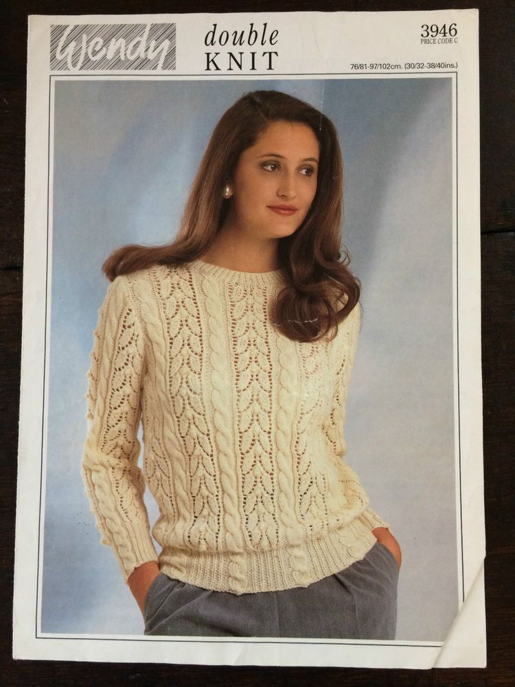 Wendy Knitting Pattern: Ladies Lacy Sweater, DK, 30-40 ...