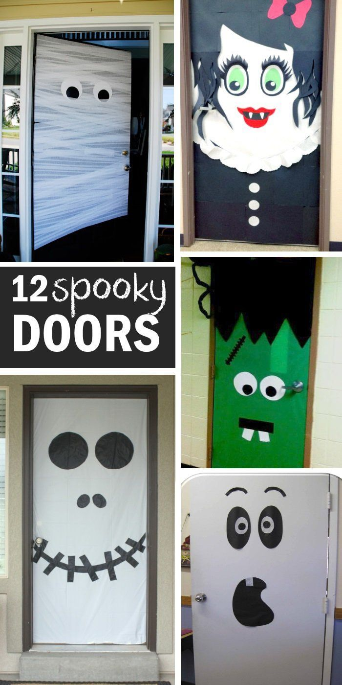 15 FUN HALLOWEEN FRONT DOORS Make up / Costumes / Déco Pinterest - Halloween Classroom Door Decorations