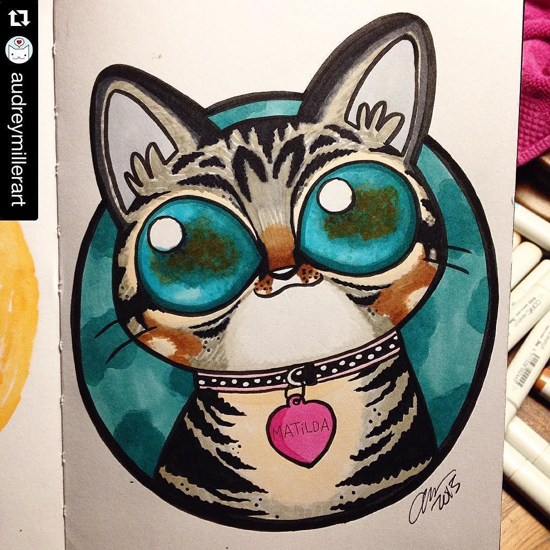 I am SO honoured to have been drawn by @audreymillerart !!  this little picture makes my heart sing!  #amazing #talent #art #socute #catsofinstagram #aliencatmatilda #aliencat #bigeyes #nofilter #nofilterneeded #colour #Repost @audreymillerart with @repostapp.  Galaxy eye Matilda! This one was so much fun to do and helped me battle the after dinner turkey day sleepiness. Might still tweak it a bit though..  #alien #famous #internet #cat #catsofinstagram #galaxy #space #eyes #copicmarkers…