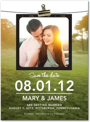 Save The Date!    http://www.weddingpaperdivas.com/product/9684/signature_white_photo_save_the_date_cards_photoshoot_clipping.html
