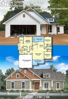 Architectural designs hz comes to life in texas this home gives you bedrooms baths and sq ft ready when are also plan bed craftsman with optional outdoor kitchen rh pinterest