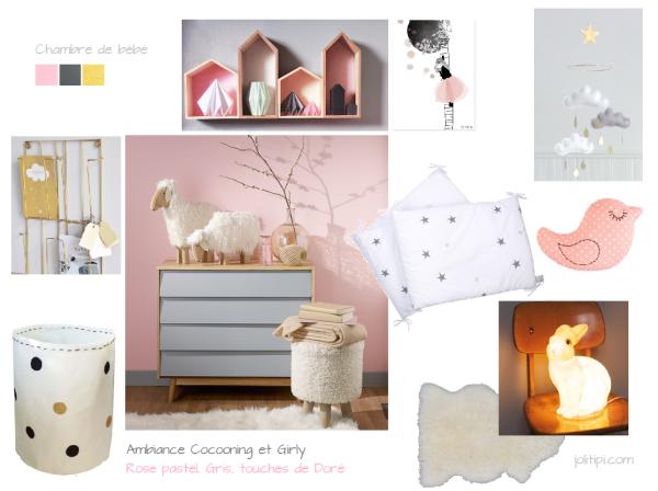 Planche d\'Inspiration - Déco de chambre de bébé gris rose pastel et ...
