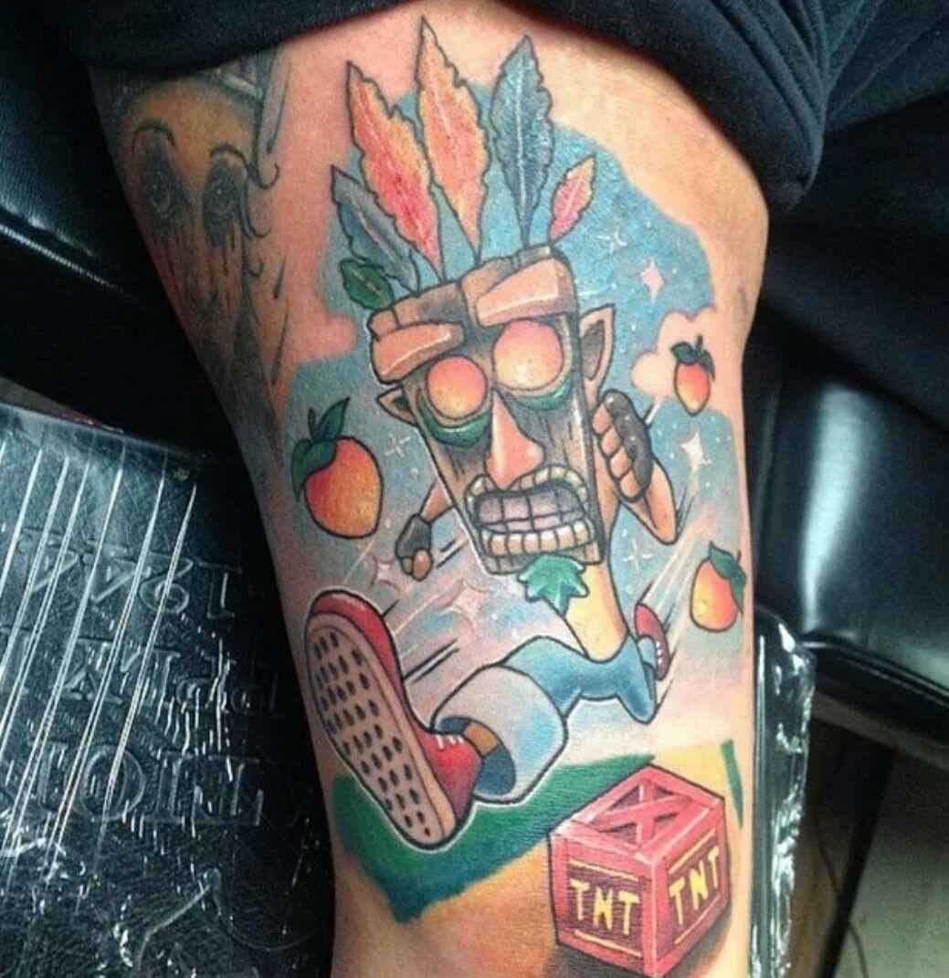 Crash bandicoot wearing aku aku mask daisies for Aku aku tattoo