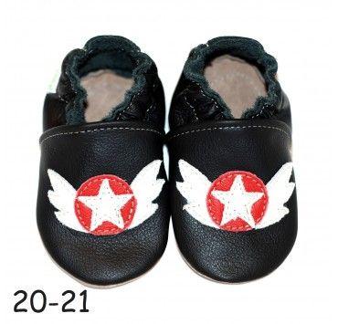 a338b4f4137af Chaussons bébé cuir souple rock it noir