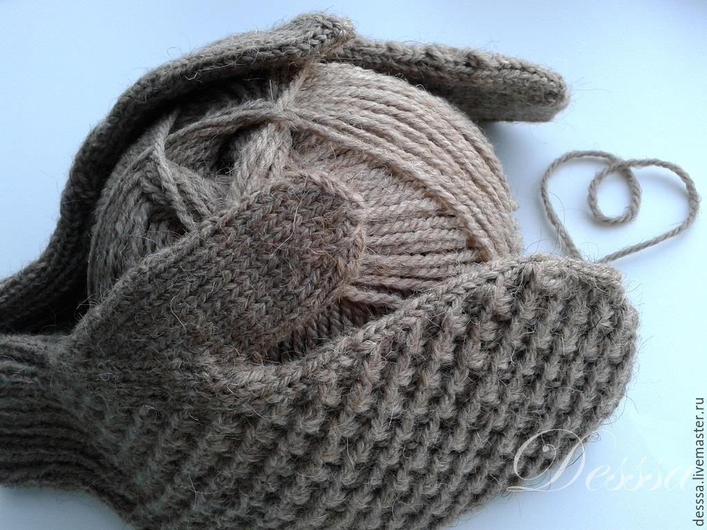 белые пушистые варежки схема вязания на спицах