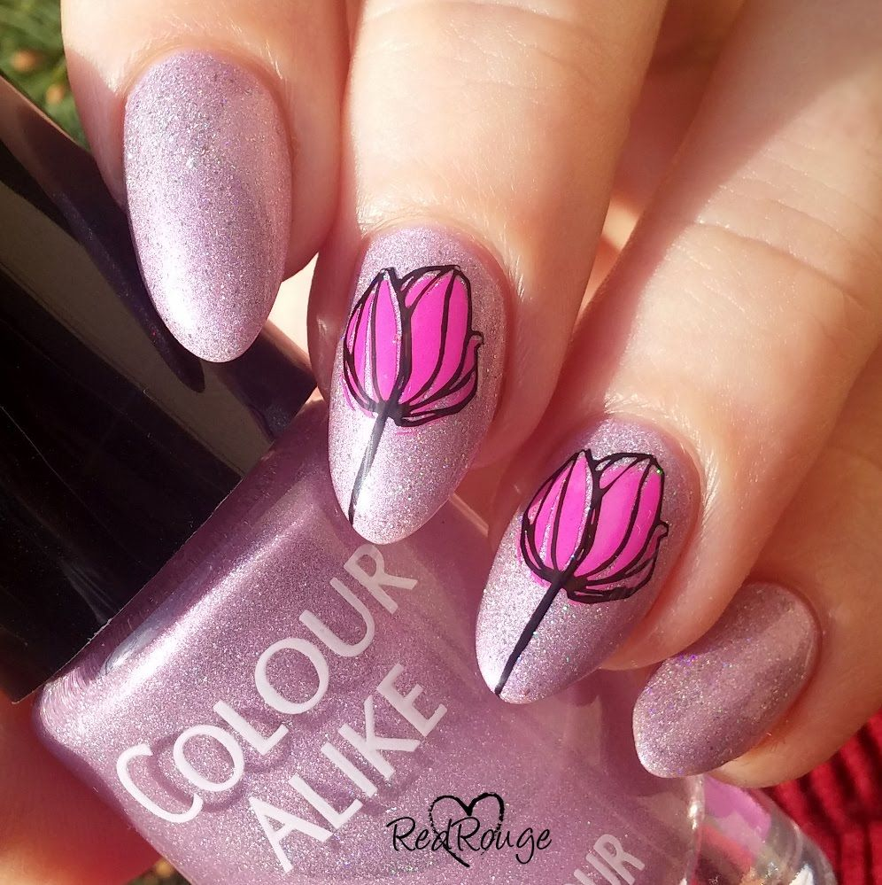 Easy Double Stamping Nail Art Tulips Tutorial