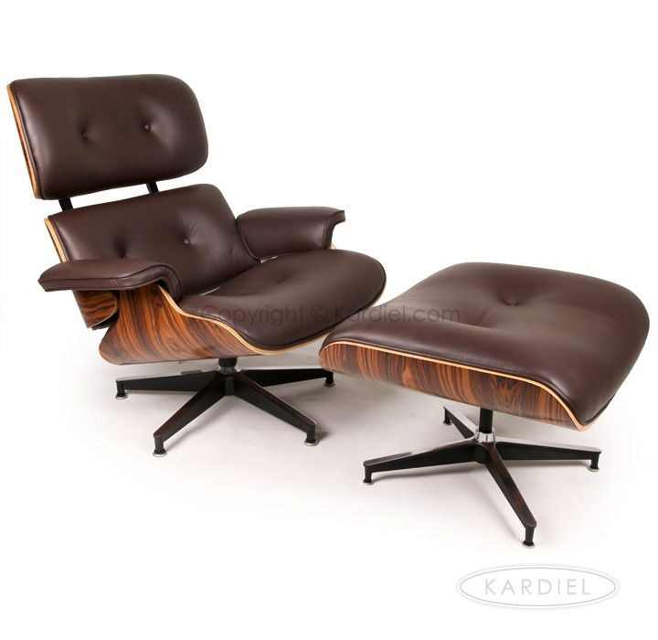 Plywood Lounge Chair Ottoman Choco Brown Premium Leather
