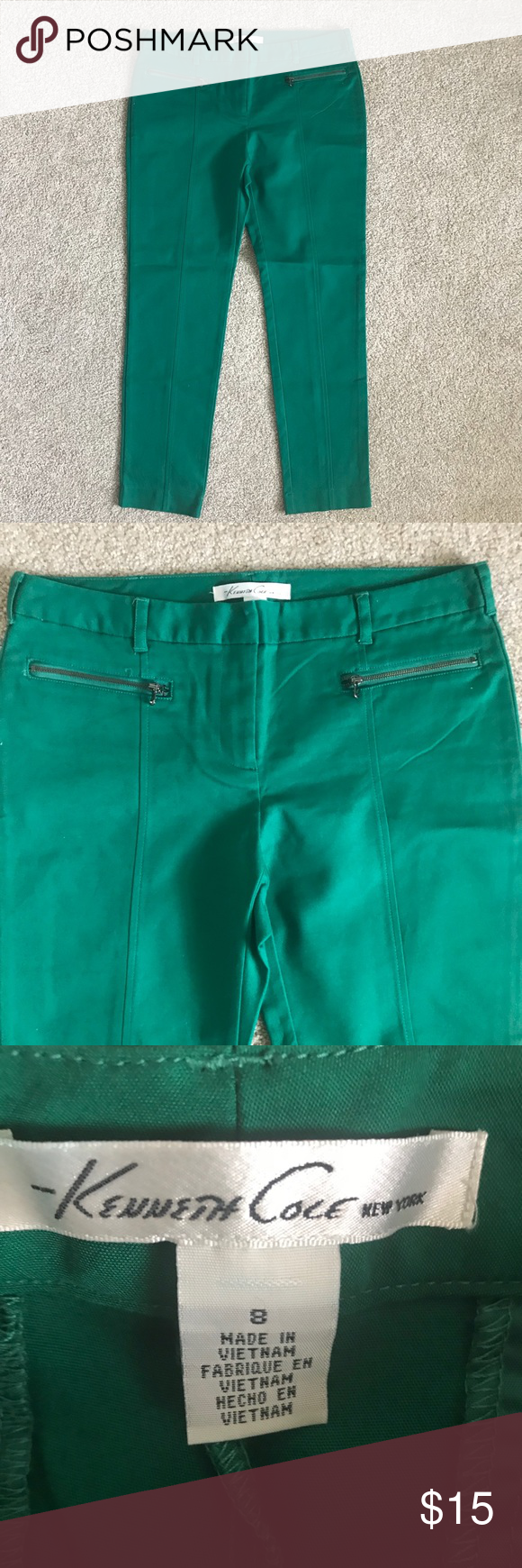 Cole New York Ankle Kelly Green Pants EUC