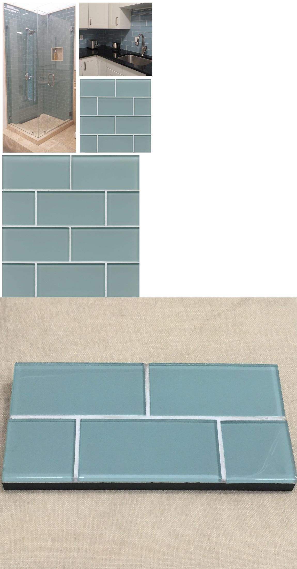 Floor and Wall Tiles 45800: 3 X6 Sea Blue Crystal Glass Subway Tile ...
