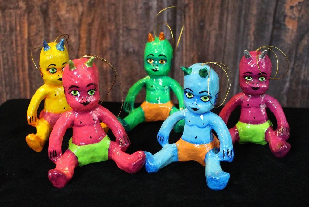 Devil Demon Baby Oranment SOLD SEPARATELY! Meixco Folk Art Colorful papier maché