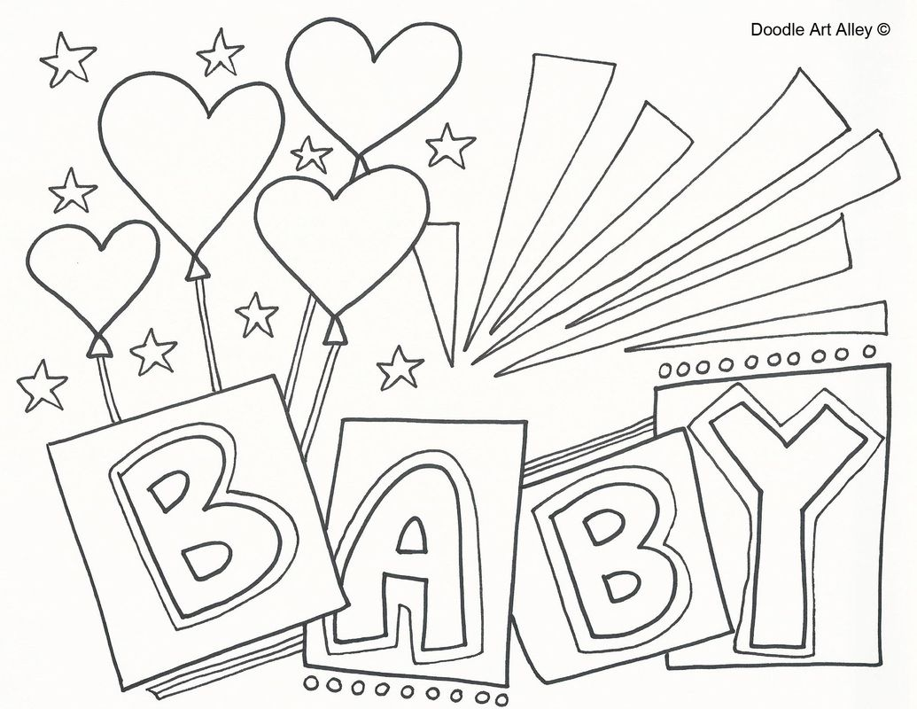 Coloring sheets of babies - Congratulations Baby Coloring Page