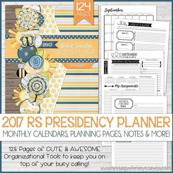2017 RS Presidency Planner Organizer, LDS Relief Society, Mormon Planner, Calendar, Organizer, LDS Planner - Printable Instant Download