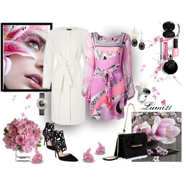 pink spring by lumi-21 on Polyvore featuring Emilio Pucci, Jaeger, Oscar de la Renta, Valentino, Swarovski, GAB, Red Carpet Manicure and Bulgari
