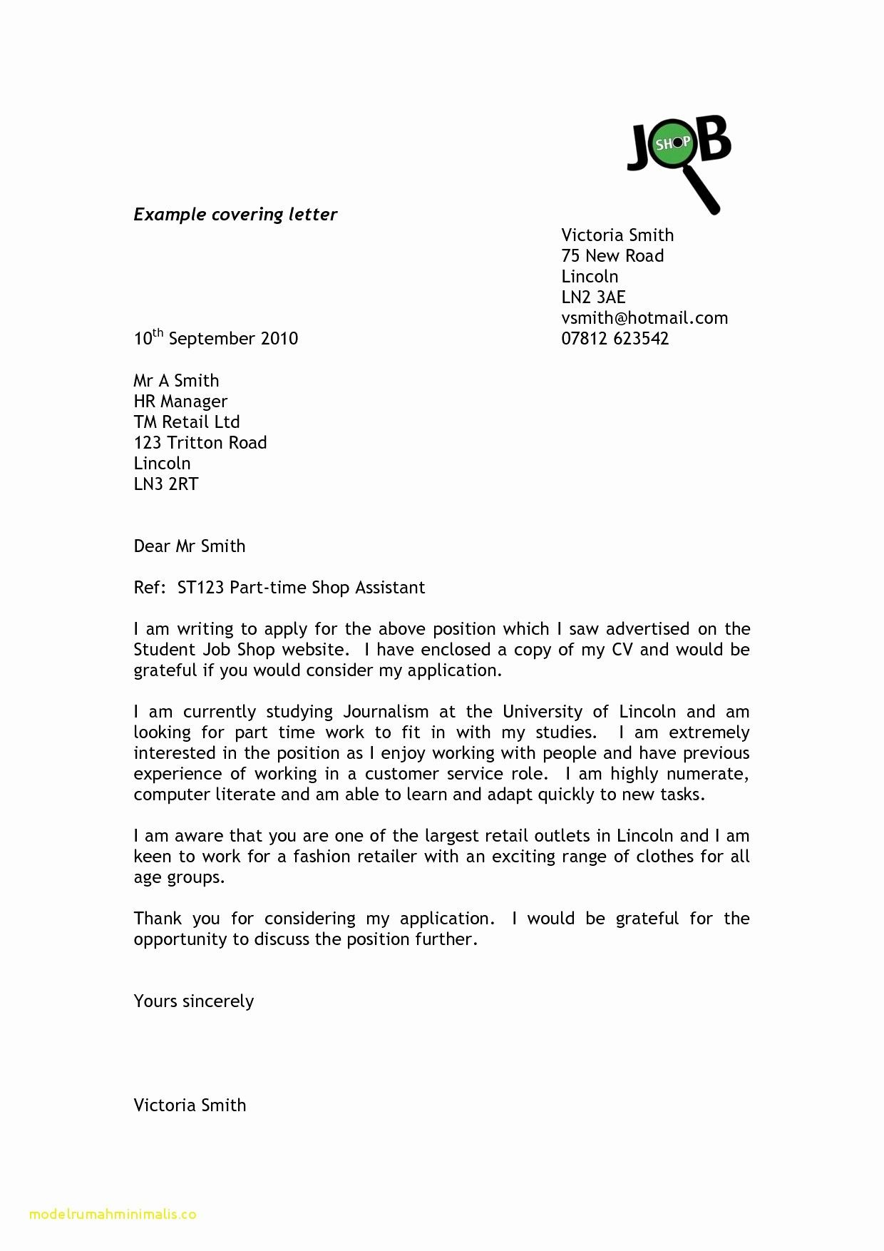 Cover Letter Sample for Sales assistant New Cover Letter