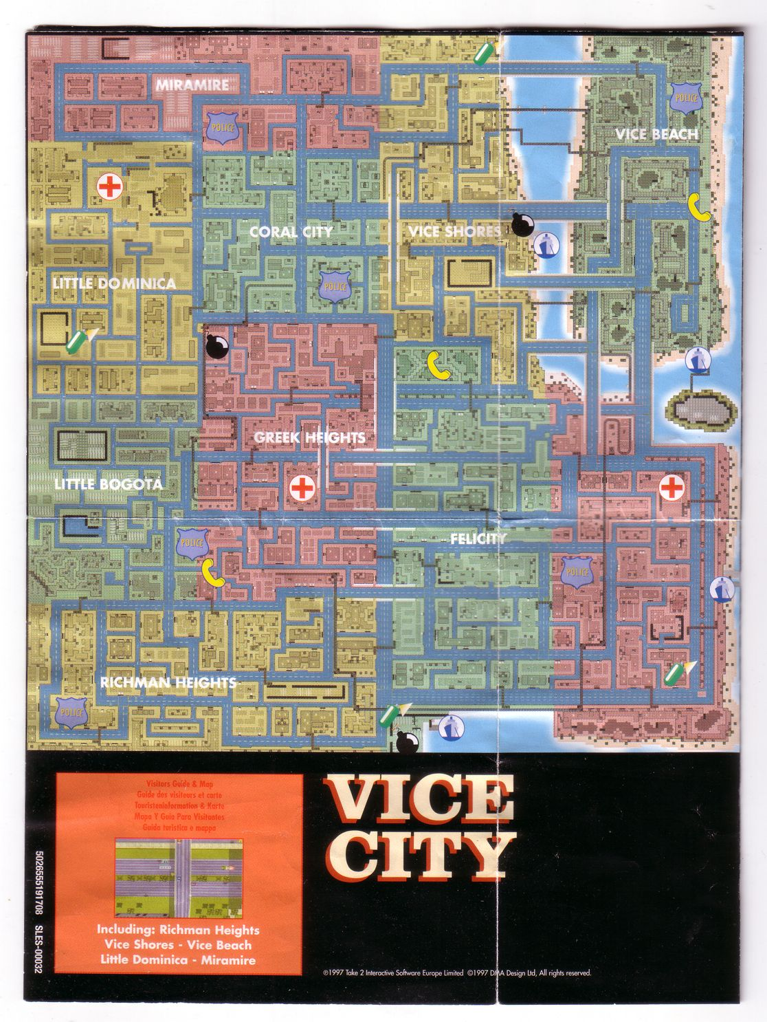 Map of Vice City. (Classic) | City, Beach coral, Vice