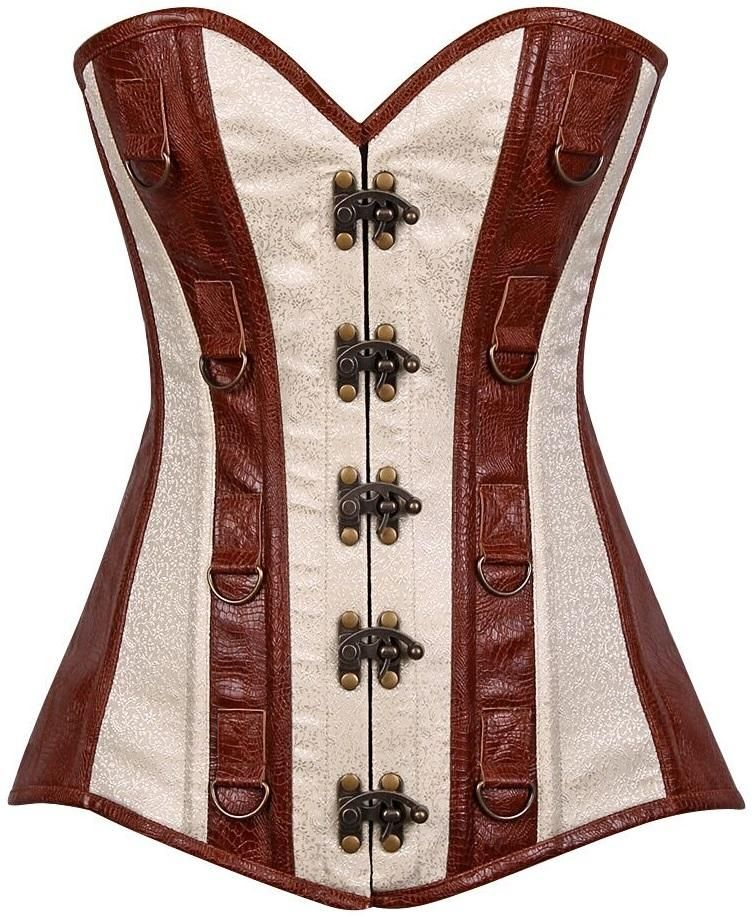 4c367b755f Daisy Corsets Top Drawer Brocade   Faux Leather Steel Boned Corset ...