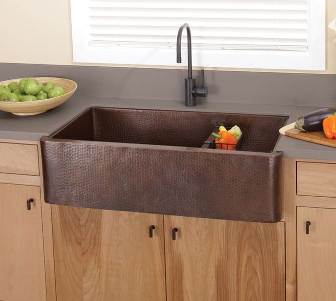 Native Trails CPS74 Double Bowl Hammered Copper Farm  Apron Kitchen Sink at bluebathcom