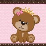 Ursinha Princesa Rosa e marrom – Kit digital gratuito